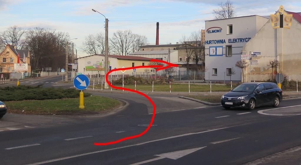 Skręt na ul. Prężyńską, Prudnik